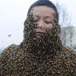 Keisčiausi pasaulio Gineso rekordai. Daugiausia bičių ant kūno